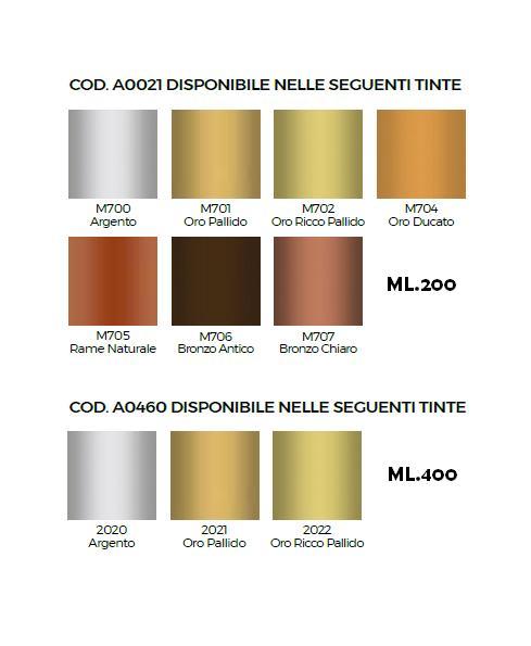 Colori metallici per decorare
