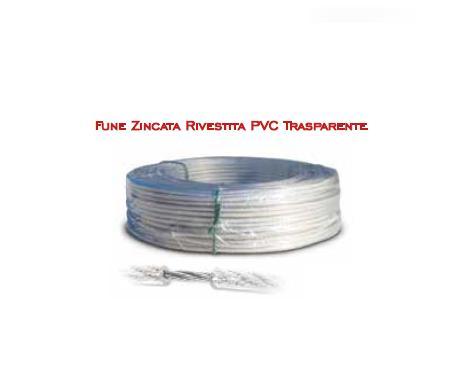 Fune zincata rivestita PVC trasparente