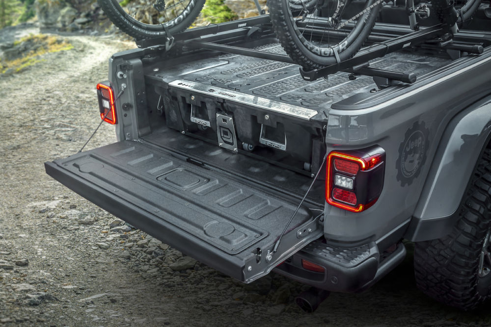 The truck bed storage system for the all-new 2020 Jeep® Gladiator enhances utility with lockable, dual sliding drawers.